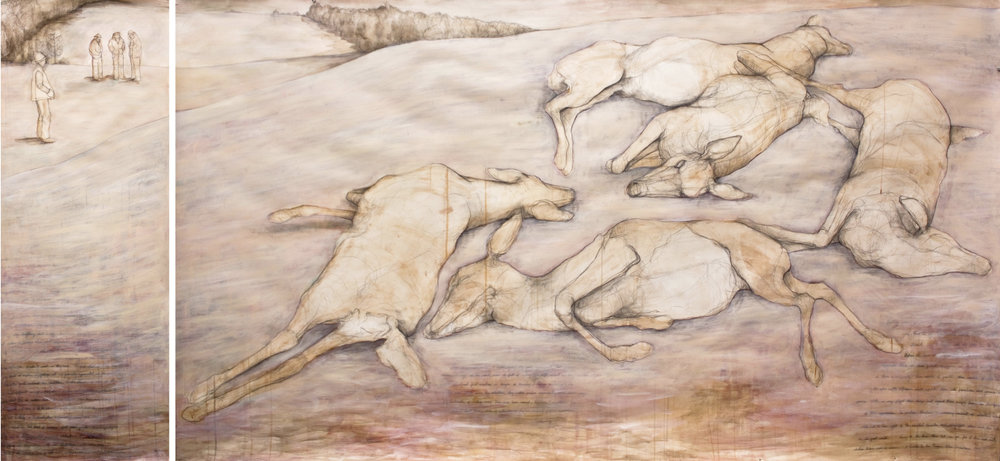 "Carly Drew, ""After the Hunt.""  Paper, watercolor, graphite, acrylic. 55 x 96in.    Available.      Inquire Here."