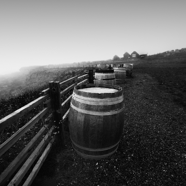 wine barrel fence by the sea 3 california, usa