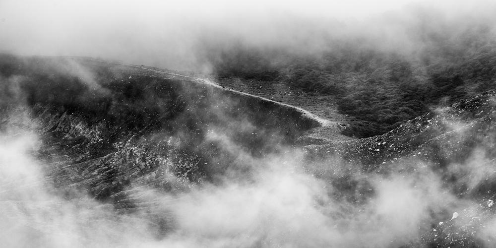 volcan poas hidden path in clouds