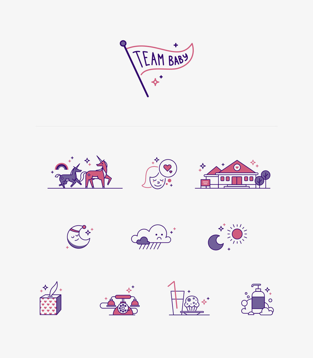 Website icon set for the Breast Milk Counts campaign.