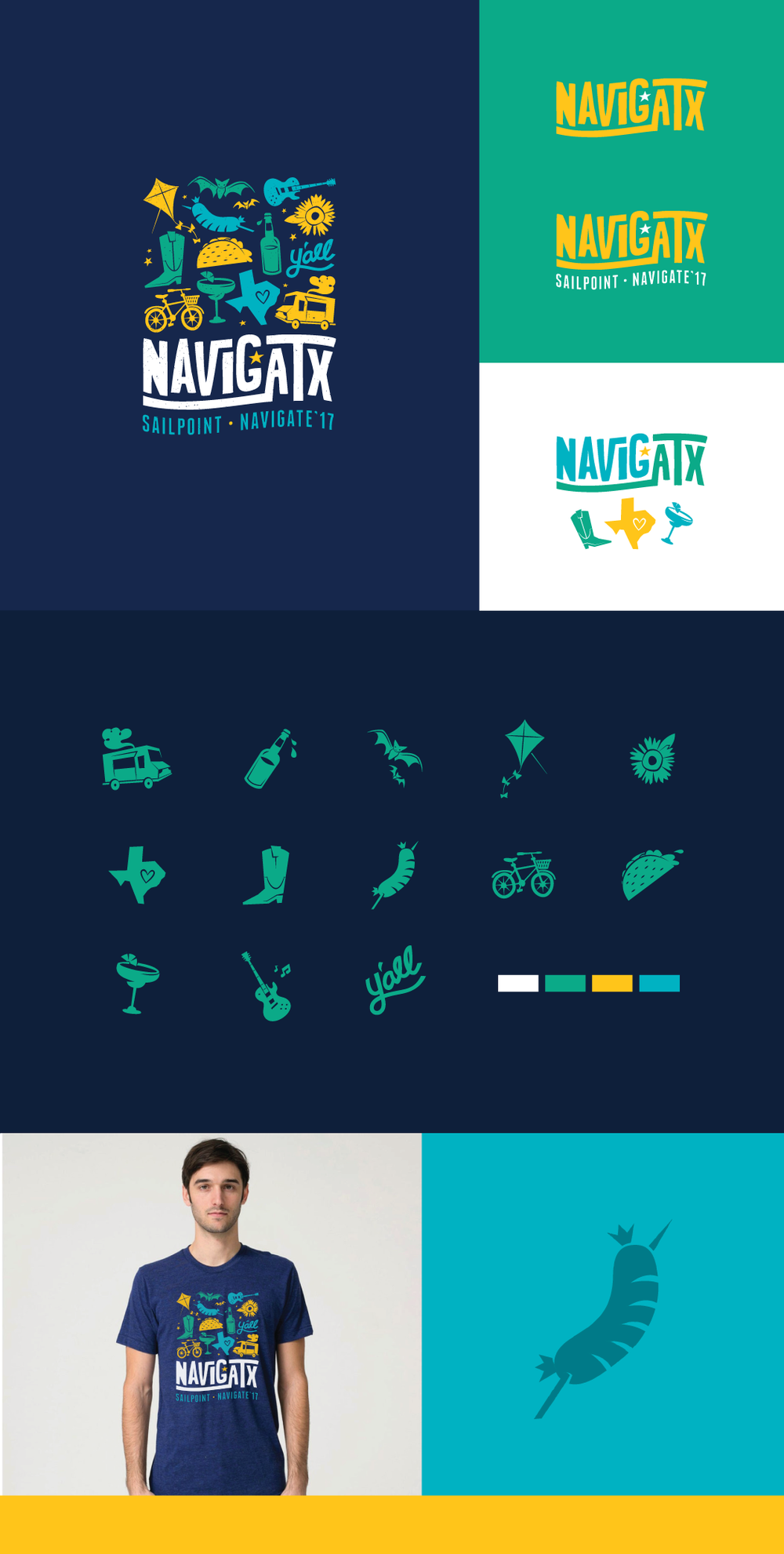 Event branding and icon set for SailPoint's annual post-conference party.
