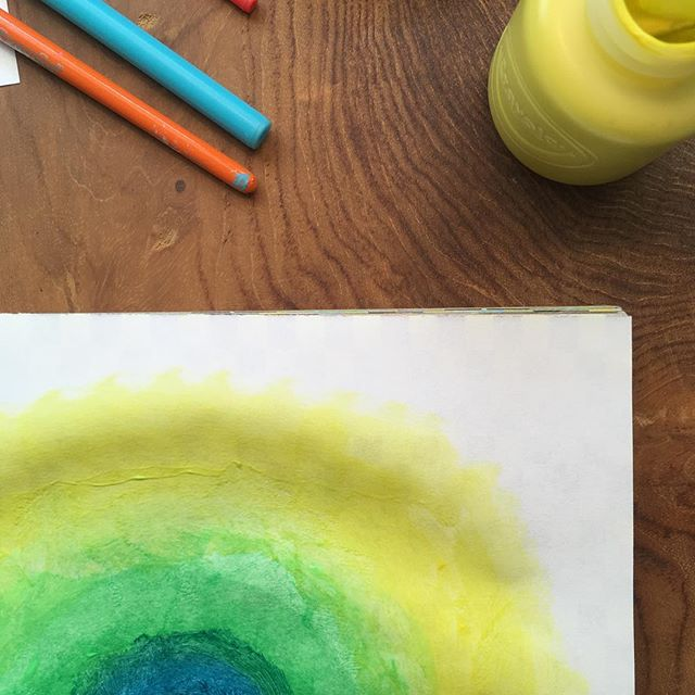 I'm not creative I'm not an artist I'm not good at this 💛💚💙 Kids don't say these things when we give them a paint set and brushes. So why do we? 💛💚💙 Painting is a lovely way to get out of your head and back into your body. When is the last time you picked up a brush?