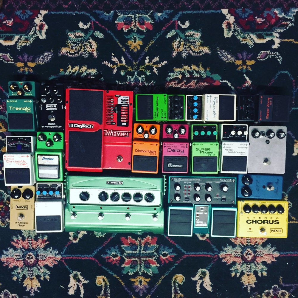 Some of CC's pedal collection.