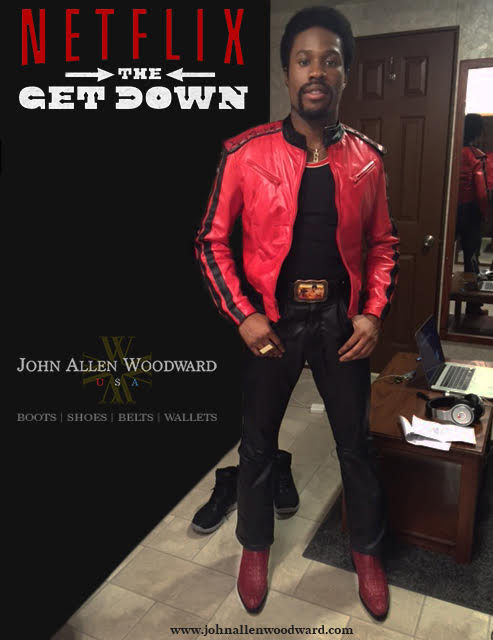 Shameik Moore showing off Woodward's boots as his character Shaolin Fantastic from  The Get Down .