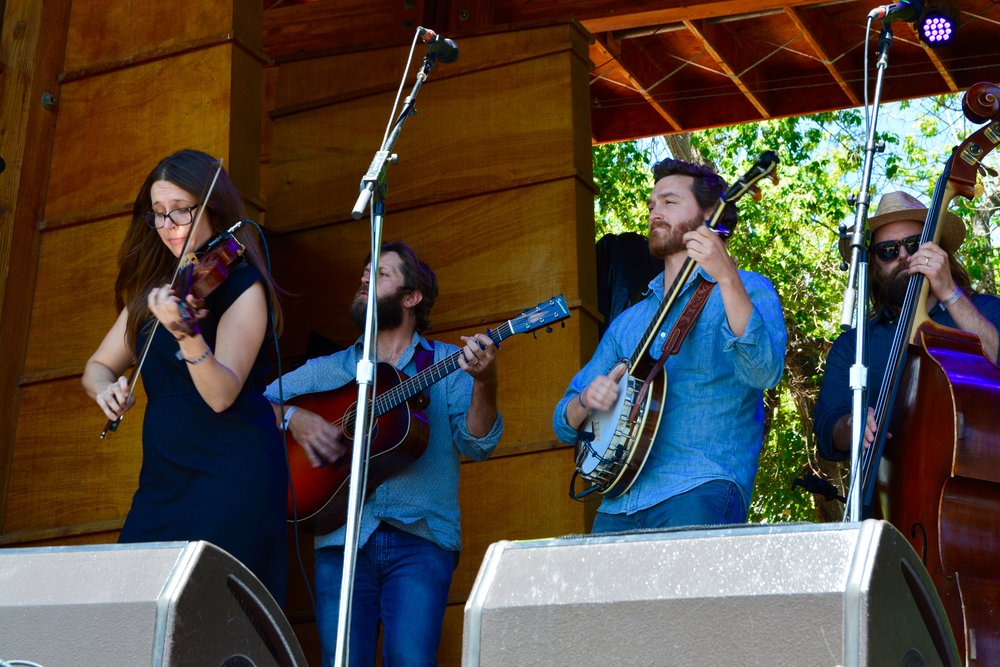 (1_2) Bevin Foley rips a fiddle break with her band Trout Steak Revival, winners of the 2014 Rockygrass Band Contest.jpg