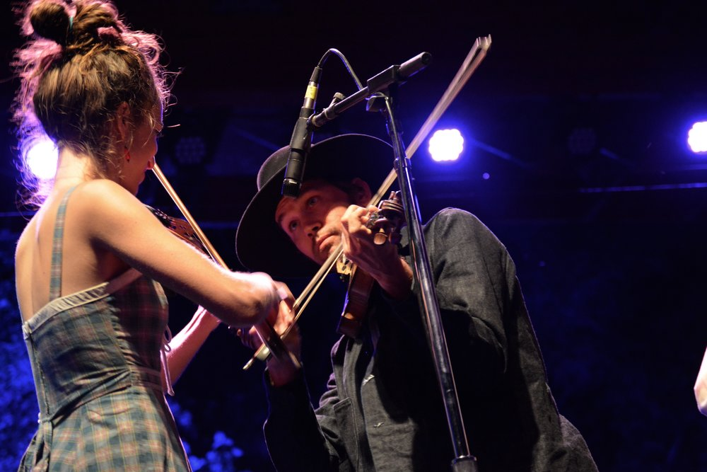 Brittany Haas and Willie Watson (formerly of Old Crow Medicine Show) playing twin fiddles.jpg