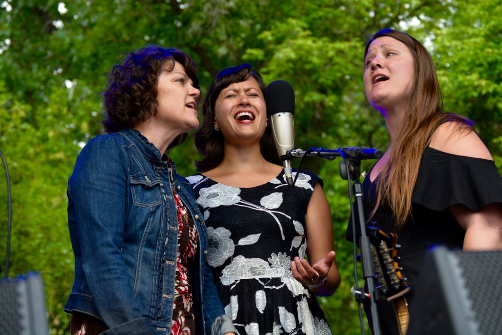 KC Groves, Natalie Padilla, _ Sarah Cole singing the Wailin Jennys _One Voice_ for the Sunday morning gospel set.jpg
