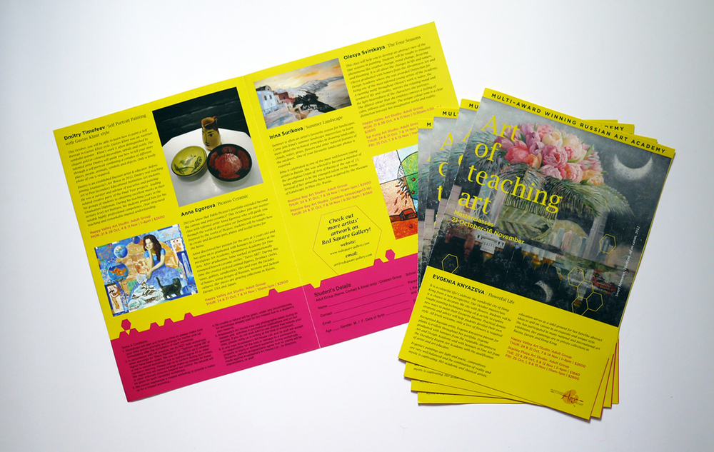 Art Workshop Leaflet  特別課程傳單   (  Design   設計: Rowena Chan |   Artwork & Photography  原圖和攝影  : Anastassia's Art House Art Instructors)