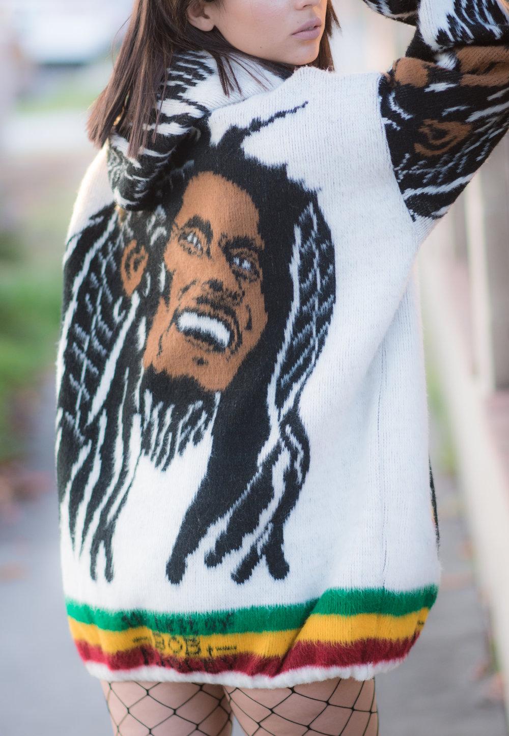 Bob Marley Rasta Wool Hooded Sweater Full Zip