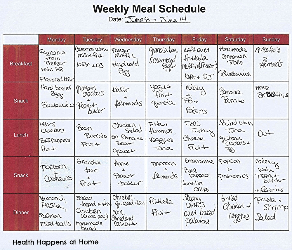 June 8 weekly meal plan
