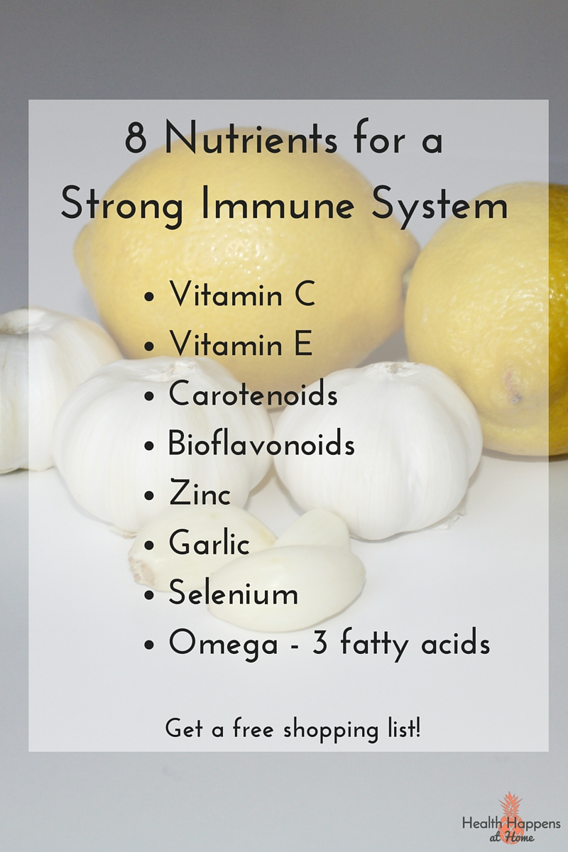 8 Nutrients for a Strong Immune System - Health Happens at Home. Get a free grocery shopping list filled with immune boosting foods. Read now or pin for later.