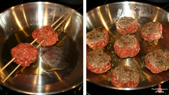 Oops! Skewers don't fit my 10 inch skillet. We have to improvise.