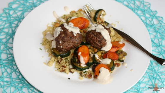 Moroccan meatballs (not skewered) with apricot couscous, sauteed carrot & zucchini with cumin-lime yogurt. This was absolutely DELICIOUS! So Good!