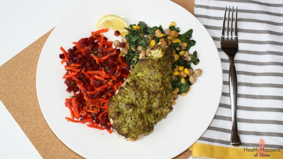 Herb pesto-topped chicken with carrot-beet slaw, sauteed chickpeas, chard & corn with hemp seed topping. This was very good!