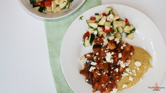 Eggplant ragout with cumin spiced polenta & cauliflower, zucchini salad topped with feta cheese. This was good.