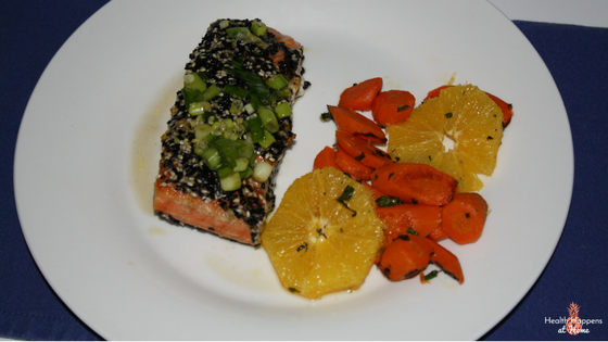 Sesame-crusted salmon with Cara Cara orange and roasted carrot salad. So good!