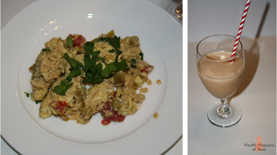 Spicy Mexican scramble and orange-almond smoothie. We love breakfast for dinner and this was very good! The tortilla were crumbly again so we just tossed them.