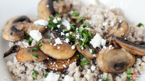 Sick of sweets for breakfast? Try this savory Mushroom Goat Cheese Buckwheat. Read now or pin for later. #thereciperedux - Health Happens at Home