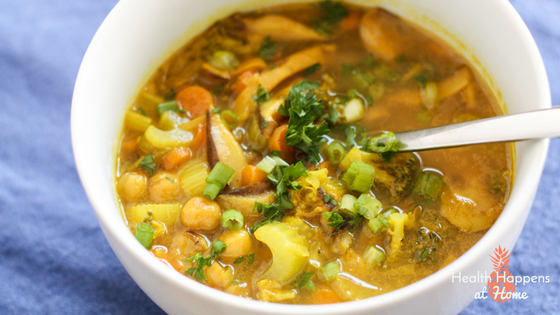 Immune Boosting Turmeric Miso Vegetable Soup recipe. #thereciperedux Read now or pin for later. - Health Happens at Home