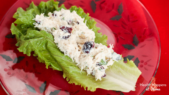 Chicken (or Turkey) Salad with Cranberries and No Mayo. Read now or pin for later - Health Happens at Home