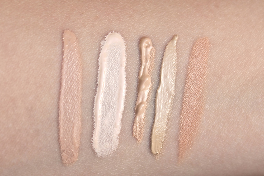 SWATCH LEFT - RIGHT // TOO FACED BORN THIS WAY CONCEALER IN FAIR / MAKE UP FOR EVER ULTRA HD CONCEALER IN Y21 / MAKE UP FOR EVER FULL COVER CONCEALER IN 3, KEVYN AUCOIN THE SENSUAL SKIN ENHANCER IN SX05 / RODIAL AIRBRUSH CONCEALER IN MALIBU