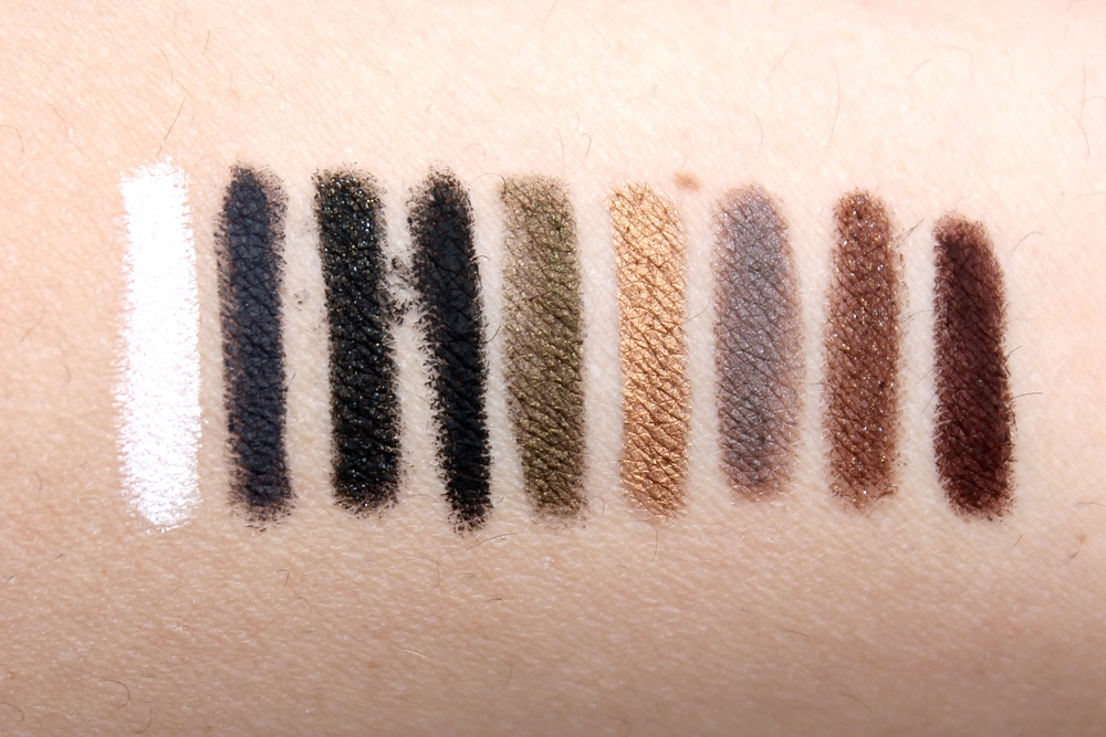 Swatched L->r / M-16, M-14, D-12, M-10, I-36, ME-42,S-50, D-62, and M-60