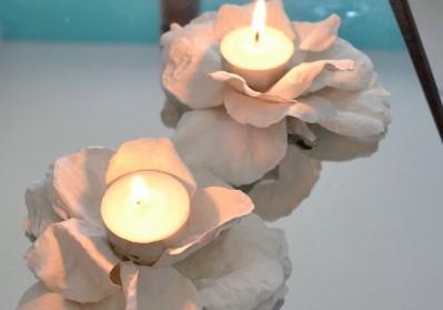 Plaster Flower Candle Holder