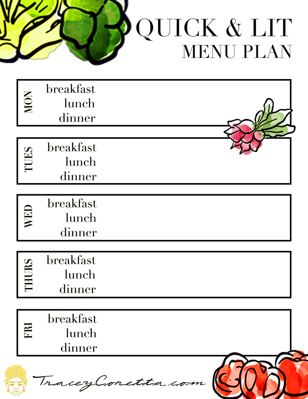 Click On The Image To Open Up The Week Day Template And A Few Of My  Favorite Recipes.  Menu For The Week Template
