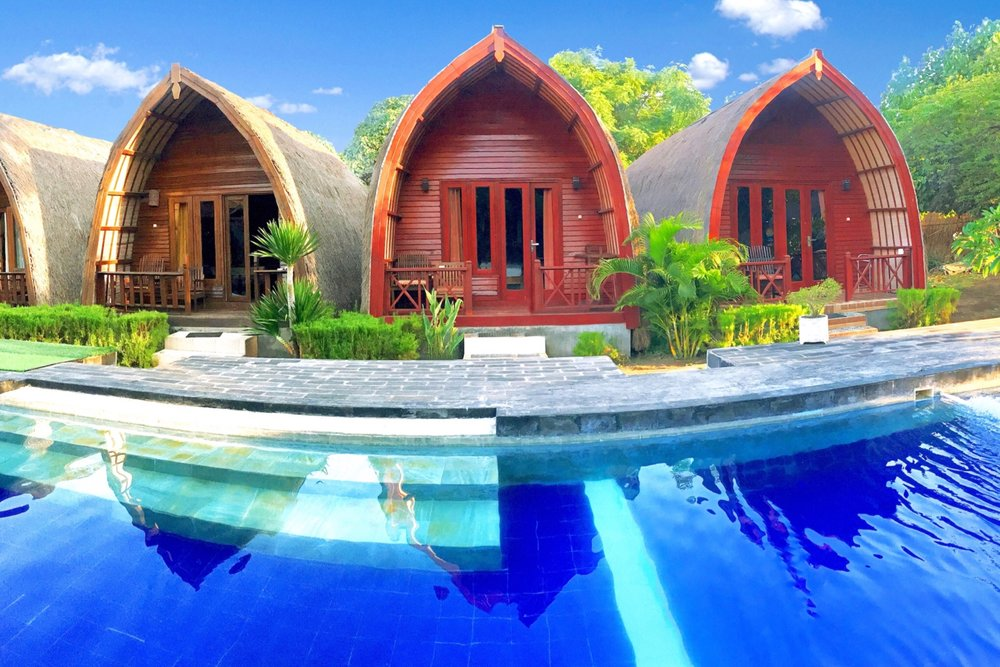 AMORA VILLA - Amora Villa which is located in Gili Trawangan provide a place to stay for any guests visiting Lombok indeed to conduct different activities especially vacation. We provide exclusive lodging with traditional atmosphere. We have 12 units of rooms available. Amora Villa is located not far from the beach, only 200 meters or 5 minutes if you walk and also near the small hills that make the atmosphere more romantic , comfortable and calm. Steps away from the white sandy shores of Gili Trawangan Island, Amora Villa 2 offers a relaxing getaway with an outdoor pool. It provides snorkelling facilities on site and air-conditioned bungalows with private terraces. The property is situated within 10 minutes' stroll from Gili Trawangan Port, which can be reached by a 30-minute boat ride from Bangsal Harbour in Lombok.6 Deluxe Double & 6 Deluxe TwinNormal Season: IDR 1.000.000;High Season : IDR 1.500.000; (8th – 23th June and 1st July – 31st August)Peak Season : IDR 2.500.000; (Christmas and New Year and 20th December – 6th January)