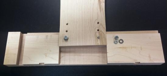 Adjustment points at top of desk leg
