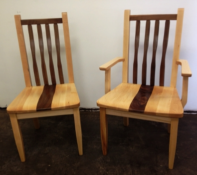 Neptune Chairs shown with wood seats and mixed woods (Maple & Walnut)