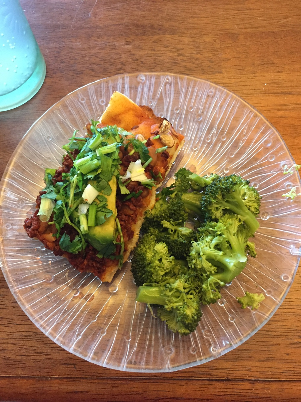 Served with avocado, cilantro, green onions, and lime. I love to have broccoli on the side!