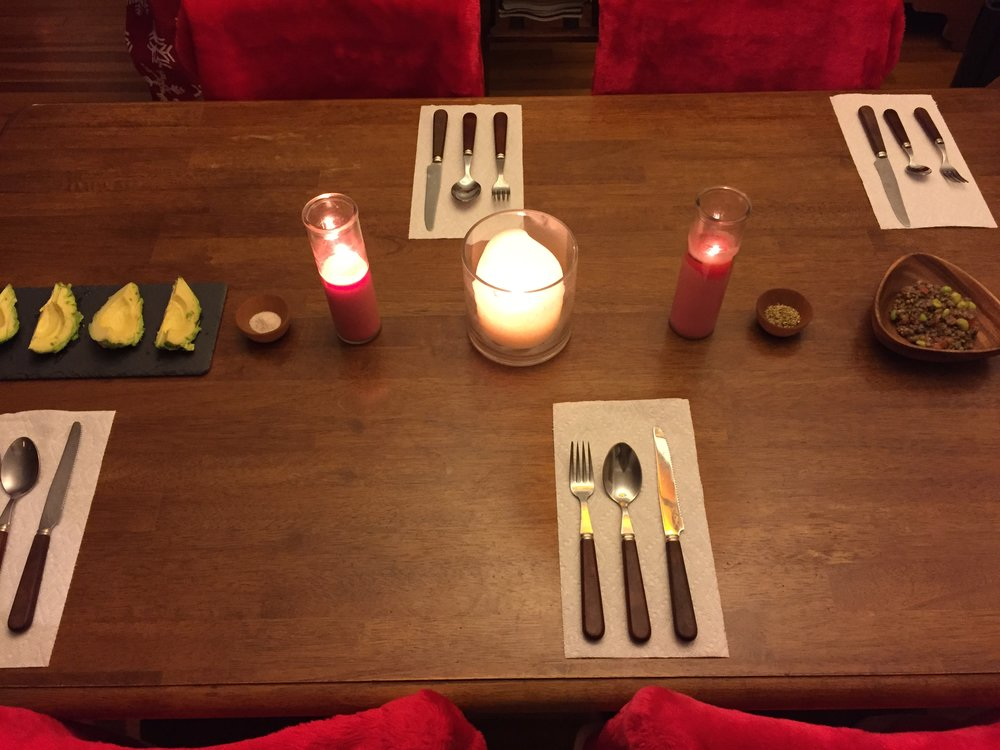 Setting the table for Christmas dinner.