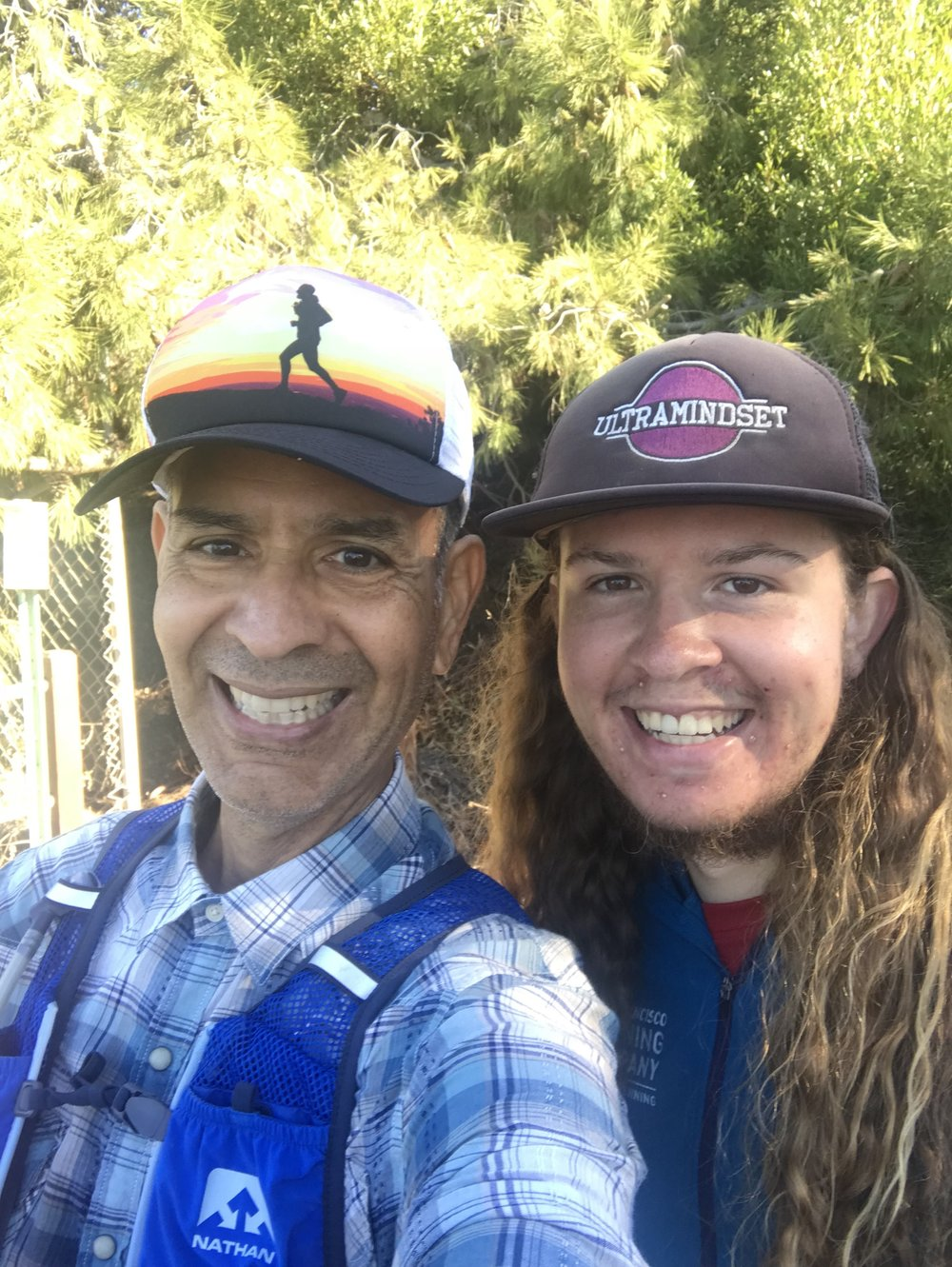 Father and son Gabriel Contreras (left), designer, and Jarod Contreras (right), founder, fresh off a run on their home trails.