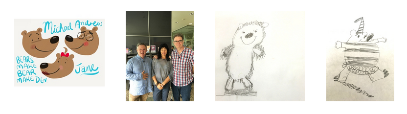 Here are some pictures form the launch of Bear Make Den, including a couple of fabulous bears drawn by students!