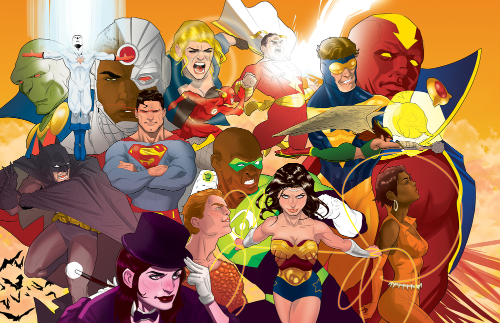 """Justice""   Collage of DC characters."