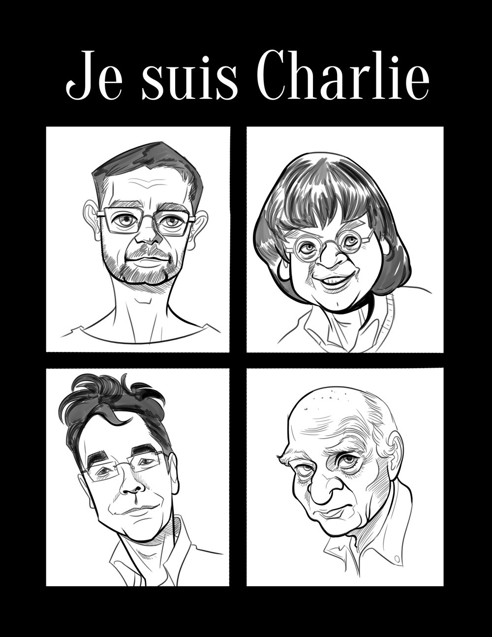"""Je suis Charlie""   From one artist to another, honoring the fallen artists of the Paris Charlie Hebdo attacks."