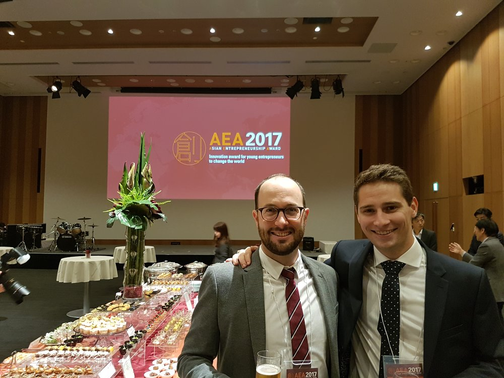 If you are looking at the immaculate food display, I don't blame you. It was amazing hospitality! Here with Angus from AirBike.