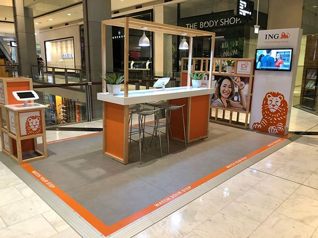 New ING stand at Parramatta #Displaywise #ING #ingzone #howbankingcanbe #banking #orange #everyday #orangeeveryday #eligibility #cashbonus #insurance #savings #here #there #everywhere #parramatta