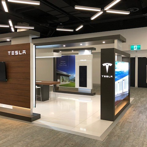 Our Tesla stand looking slick & stylish at Power Australia Expo  @ ICC #Tesla @Tesla #Displaywise #solar #powerwall #powerwall2 #battery #power #supply #efficiency #savings #benefits #energy #forwardthinking #environment #environment