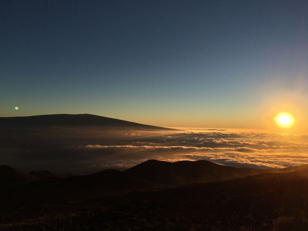 Above the clouds, sunset at Mauna Kea