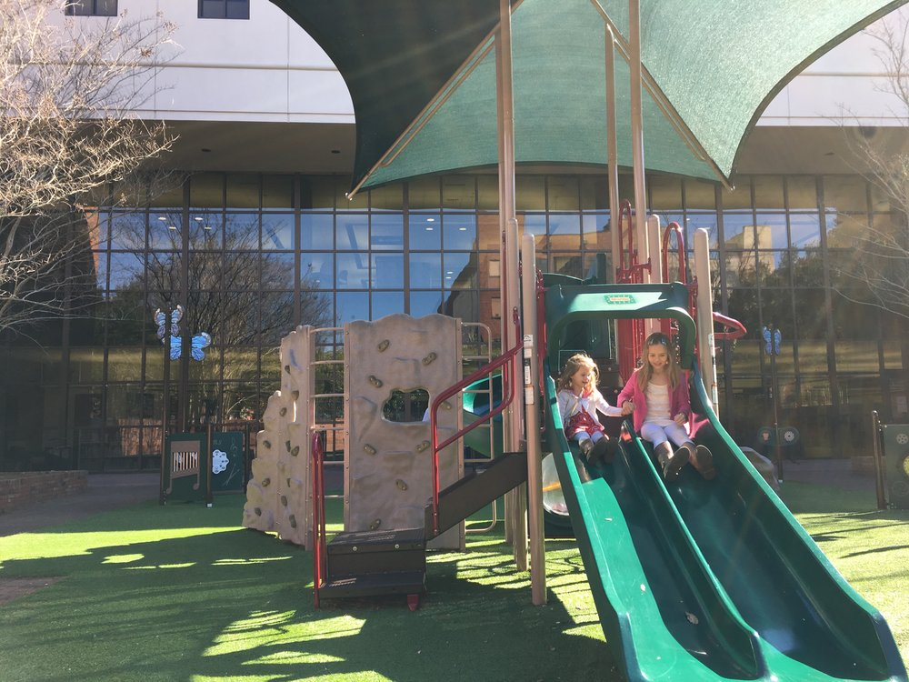 Playgrounds during school hours are usually empty and my kids have each other to play with, so it works out great for us!