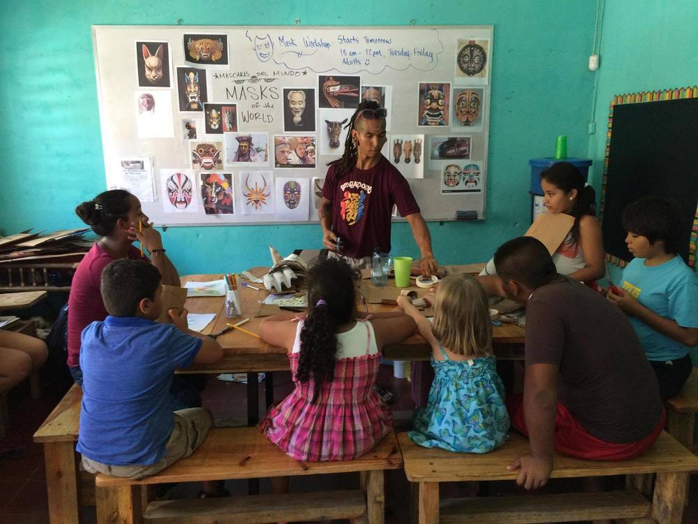 Teaching students at Escuela Adelante in San Juan del Sur, Nicaragua