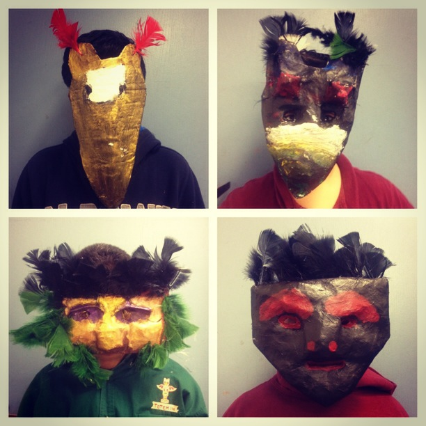 Masks from an afterschool workshop in East Oakland, Ca