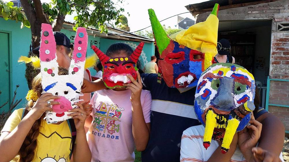 Students with their masks from Escuela Adelante, Nicaragua