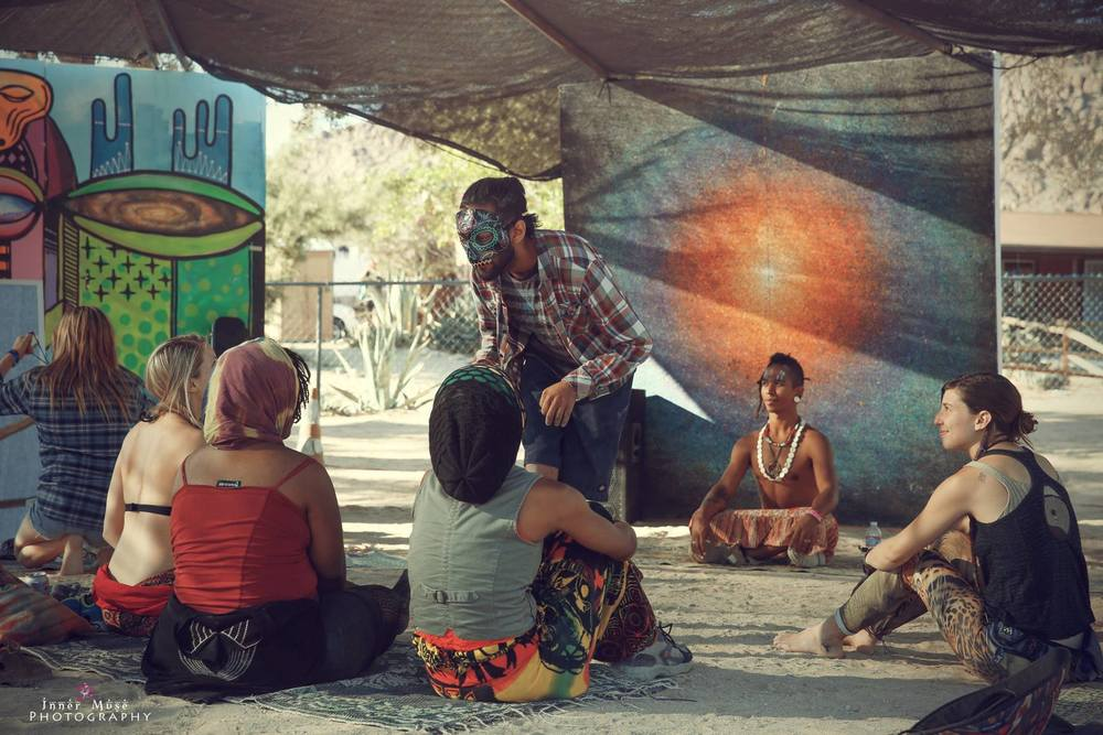 Experiential mask theater workshop for adults at the Joshua Tree Music Festival