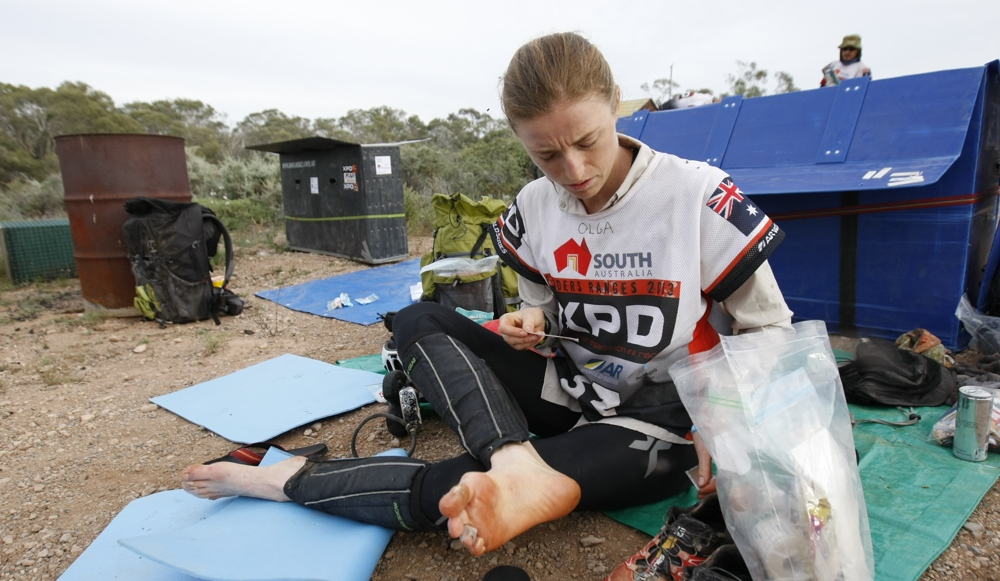 2013 XPD Flinders ranges 6th mixed team - feet maintenance in transition.JPG