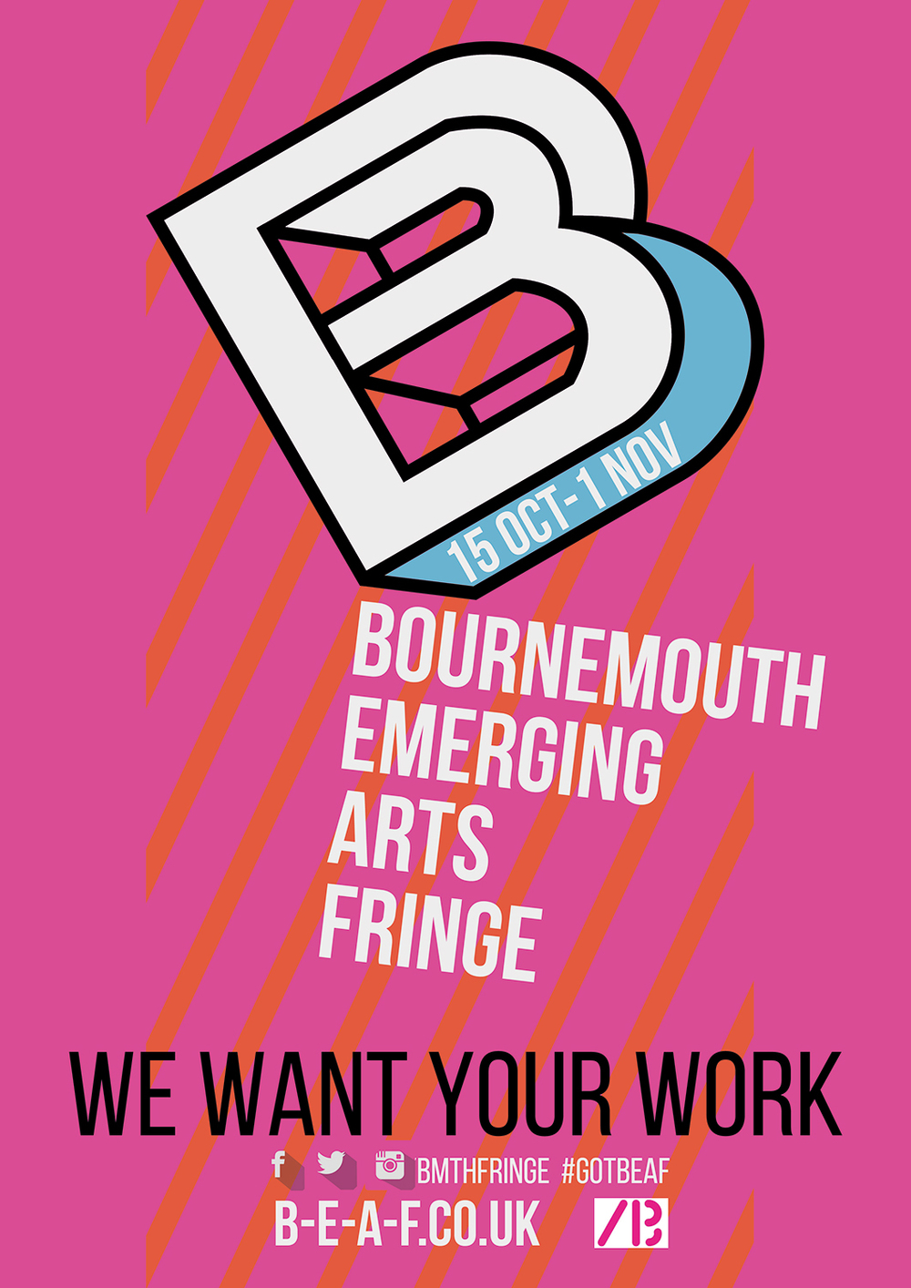 Branding and logo design. Promotional poster for Bournemouth Emerging Arts Fringe festival, 2015.