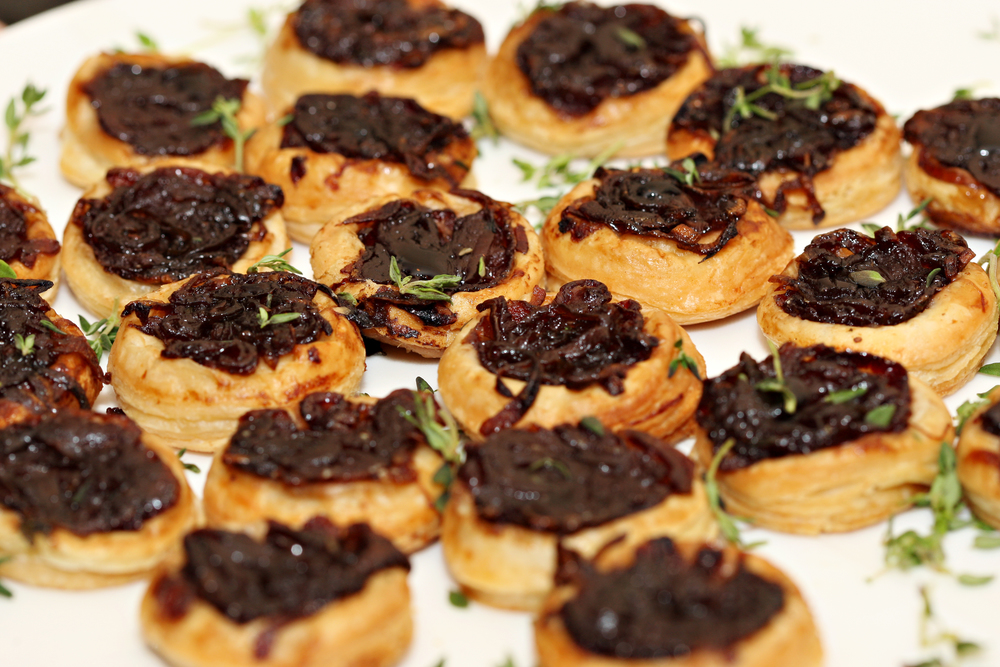 Red onion tart tatin with balsamic glaze and thyme