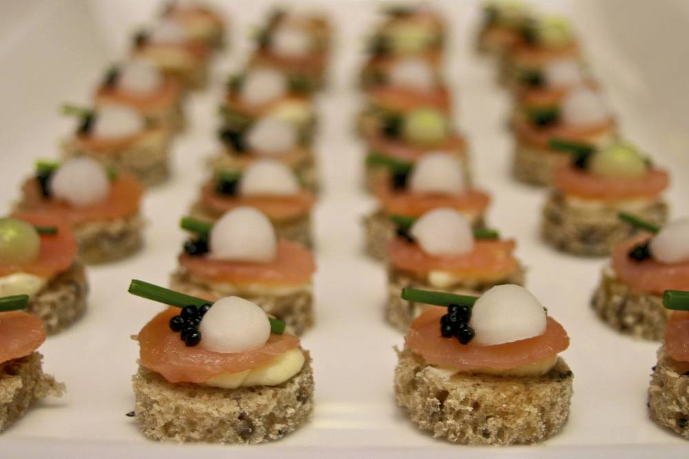 Peat smoked salmon with daikon horseradish butter caviar on rye